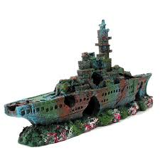 Extra Large Fish Tank Decorations by Wreck Sunk Ship Aquarium Ornament Resin Sailing Boat Vessel
