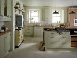 Admirable Country Kitchen Design With Wooden Countertop And Shelve Black Pendant Lamp Also Soft