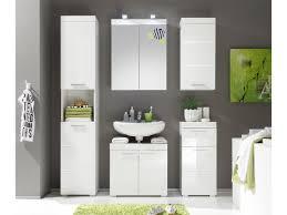 badmöbel set weiß hochglanz mit spiegelschrank 5 teilig amanda