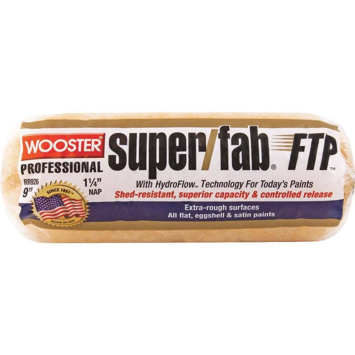 "Wooster RR926-9 Super/Fab FTP Roller Cover, 1-1/4"" Nap, 9"""