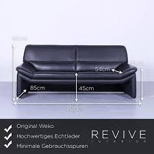 de weko designer leder sofa schwarz dreisitzer