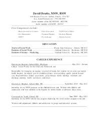 Example Social Work Resume Resumes For Workers Worker Samples Format