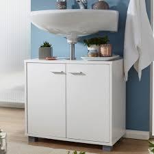 finebuy design waschbeckenunterschrank fb37117 badunterschrank mit 2 türen weiß kleiner schrank badezimmer 60 cm breit badschrank waschbecken