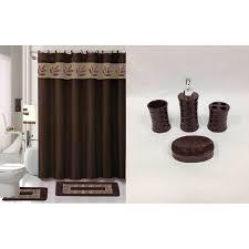 Walmart Bathroom Curtains Sets by 22 Piece Bath Accessory Set Chocolate Brown Bathroom Rug Set
