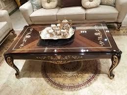 edler designer klassischer couchtisch beistelltisch sofa wohnzimmer tisch holz