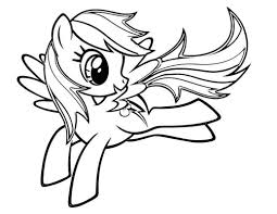 Rainbow Dash My Little Pony Cartoon Coloring Page Prancing Free Color