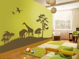A Kids Jungle Wall Same Page Grass Rug Cut As Path Through Room