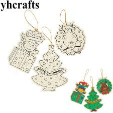 Paint Unfinished Wood Christmas Tree Ornament Drawing Toys Kindergarten Crafts Kids DIY