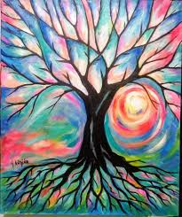 Yvette Andino Art Original Tree Of Life Painting 24x20 Abstract Unframed Impressionism