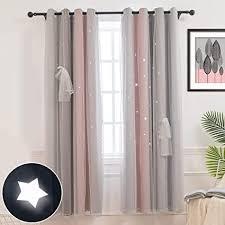 couturebridal vorhang blickdicht ösenschal gardinen und vorhänge kinderzimmer schlafzimmer grau rosa sterne voile verdunkelungsvorhänge für kinder