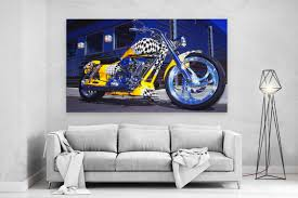 kunstdrucke harley davidson yellow blue motor bike large