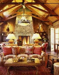 Fantastic Design Of The Rustic Living Room Ideas With Red Rugs Added Hanging Lamp