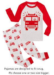 Fire Truck Little Boys Long Sleeve Pajamas 100% Cotton Pjs ...