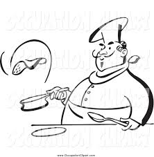 Clip Art of a Black and White Chubby Male Chef Flipping a Pancake