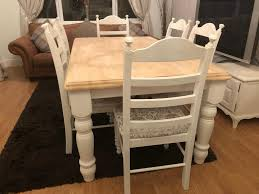 100 Oak Table 6 Chairs Shabby Chic And Nottingham Lovely Ft Shabby Chic