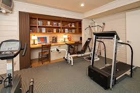 Cute Home Office Gym Contemporary With Built In Bookshelves