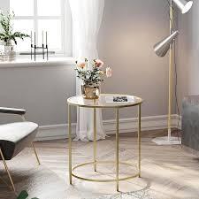 beistelltisch rund glastisch goldenes metallgestell