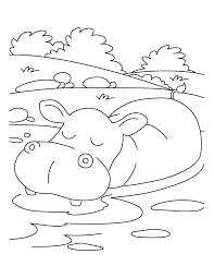 Stunning Idea Hippo Coloring Pages Hippopotamus In Relaxing Mood