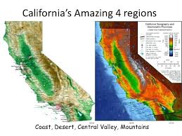 Amazing 4 Regions Coast Desert Central Valley California Map Template
