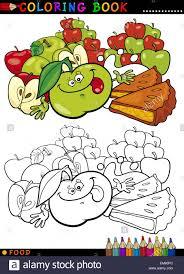 äpfel und kuchen zum ausmalen stock vektorgrafik alamy