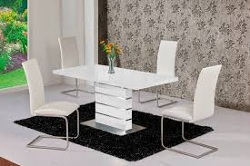 100 White Gloss Extending Dining Table And Chairs Marvelous High