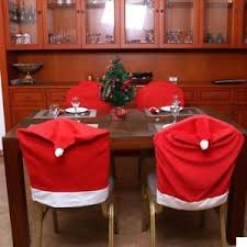 Image Is Loading Set Of 4 Dining Room Seat Cover Santa