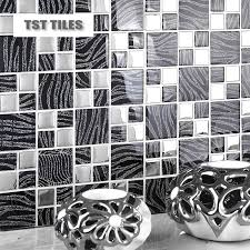 11 Sqft Per Lot Metallic Glass Silver Black Zebra Mosaic Tile Backsplash Kitchen Home Decor Fireplace Bathroom Mirror Wall On Aliexpress