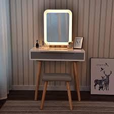 puluomis schminktisch led beleuchtung kosmetiktisch mit gepolstertem hocker frisiertisch spiegel schublade kommode make up tisch wohnzimmer modern 2