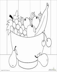 Kindergarten Coloring Worksheets Fruit Bowl Page