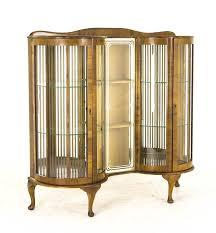 Antique Curio Cabinet Art Deco Cabinet Curved Glass