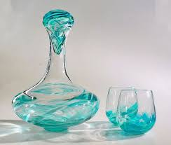 Hand Blown Glass Wine Decanter Set With Stopper In A Rainbow Of Colors On Etsy