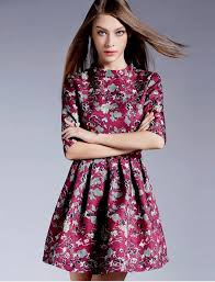Long Sleeves Short Retro Floral Dress