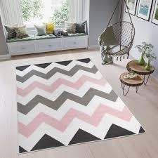 pimky teppich kurzflor rosa weiß grau modern zig zag design