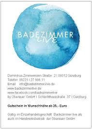 gutschein einzelhandel badezimmer live und oder handwerkerleistungen oberauer gmbh günzburg wir in günzburg