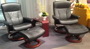 MidCentury Reclining Chair And Ottoman By Ekornes Stressless For