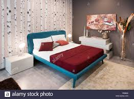 100 Decorated Wall Bedroom Design Concept With Vintage Blue Bed On Legs And Natural