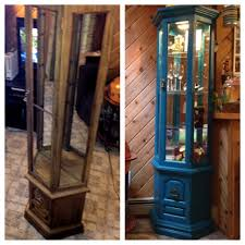 Coaster Curio Cabinet Assembly Instructions by Curio Cabinet Before And After Rustoleum Spray Paint In Lagoon