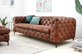elegantes chesterfield 3er sofa modern barock 240cm antik braun dreisitzer