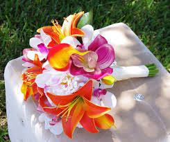 Tropical Wedding Bouquet Lilies Callas Orchids And By Wedideas 13500