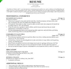 Fast Food Server Resume Examples Samples Objectives For Service Sample Restaurant Objective