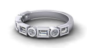 Vintage Style Art Deco Inspired Wedding Ring