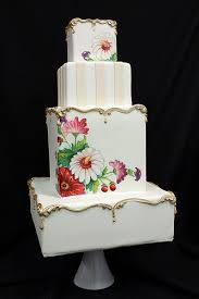 Painted Vintage Plate Inspired Wedding Cake