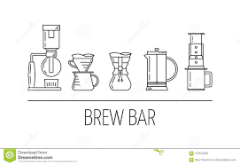 Set Vector Black Line Icons Of Coffee Brewing Methods Siphon