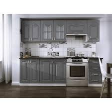 cuisine complete cuisine complète 240cm dina grise avec moulures moderne et tendance