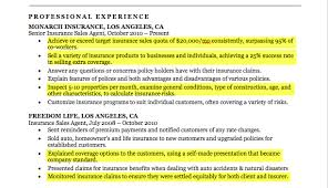 Insurance Agent Resume Highlights