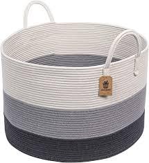 indressme groß wäschekorb geflochten aus baumwollseil aufbewahrung korb mit henkel für decken kissen im wohnzimmer d53 x h35 cm
