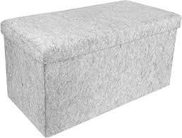 homie faltbare filz sitzbank truhenbank sitztruhe für schlafzimmer flur oder wohnzimmer grau 76 x 38 cm