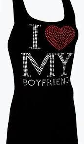 Black Rhinestone Bling Studded I Love My Boyfriend Tank Top