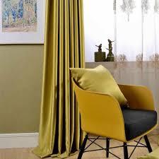 nordic einfache feste farbe fenster vorhänge gelb grün