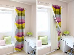Blackout Curtain Liners Ikea by Colorful Drapery Curtains And Silver Steel Rod On White Wall Paint